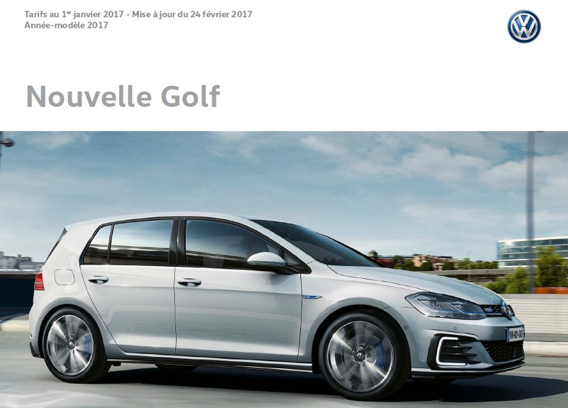 Tarifs et options - VW Golf 7 2017